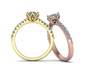 3D printable model Engagement ring round diamond Flowers 2