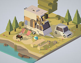 3D model isometric camping van car with barbecue on nature