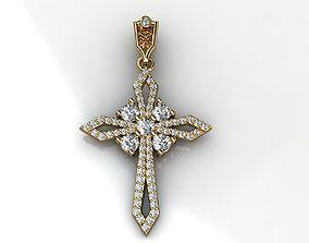 3D printable model Yellow Gold Diamond Cross Pendant
