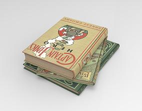 Books 3D model game-ready PBR