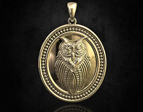 3D print model rough Owl pendant