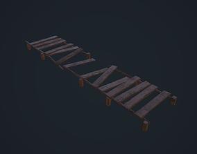 Broken Wooden Bridge 3D asset