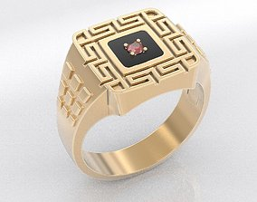 Stylish ring with hieroglyphic patterns 392 3D print model