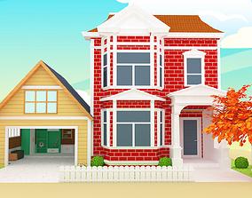 Cartoon house vs gara 3D model game-ready