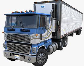 Industrial cabover refrigerated van trailer 3D model