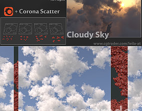 Cloudy Sky - Polygon clouds - corona scatter 3D model