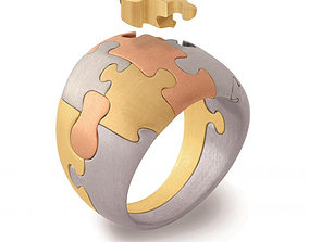Puzzle Ring 3D printable model gold
