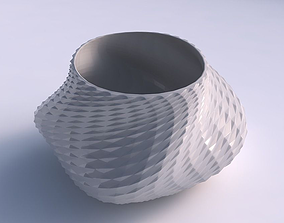 Bowl twisted elipse with grid piramides 3D printable model