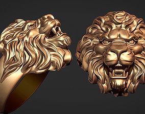 3D print model platinum ring lion