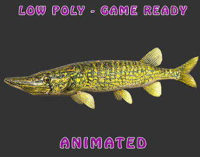 Low poly Pike Fish Animated - Game Ready 3D model