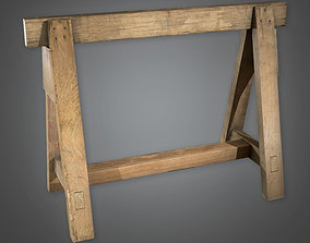 Wooden Sawhorse TLS - PBR Game Ready 3D model