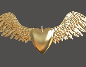 3D printable model Heart and Wings Pendant