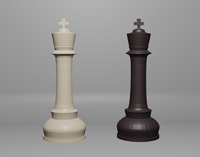 3D model Black-White Low-poly Chess King