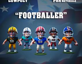 Low Poly American Footballer PBR 3D asset