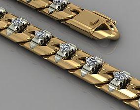 Miami cuban link chain bracelet with gems 3D print model 1