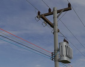 3D model Electric Pole with Power Transformer