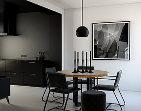 3D Kitchen and dining with modern black Style