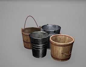 Basket - Bucket - Jar Set Low Poly Game Ready 3D asset