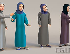 3D 4x Arabic real cloth simulation loop animated girls