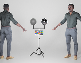 3D asset African young man in A-pose 270