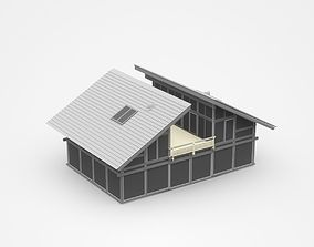 Dark Two-storey House With Separate Roof And 3D model 1