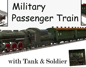 Military Passenger Train with Tank and Soldier 3D asset