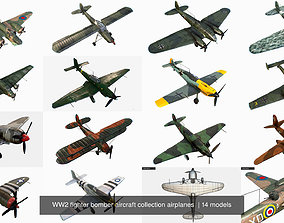 WW2 fighter bomber aircraft collection airplanes 3D