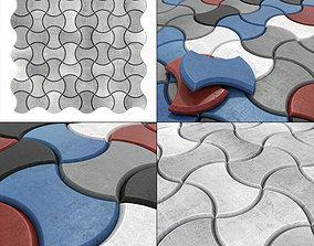 3D model Paving stone color half Circle n2