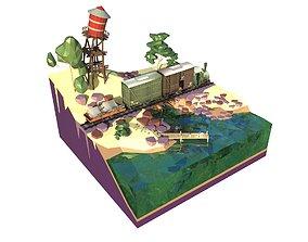3D model Locomotive cartoon