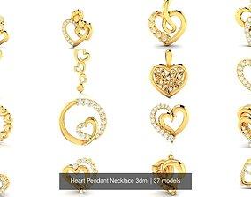 37 Heart Pendant Necklace 3dm