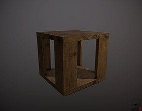 living wooden table 3D model game-ready