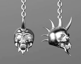 earrings PUNK skull 3D print model