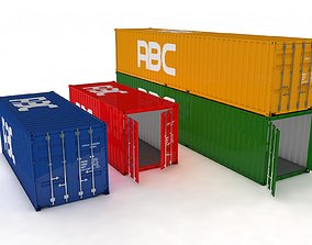 Container 20ft and 40ft for Ship and Truck 3D model