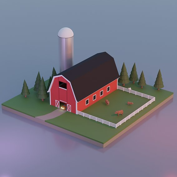 Low Poly Barn