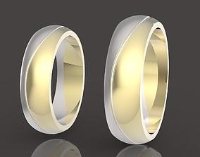 2 metal wedding rings 3D print model