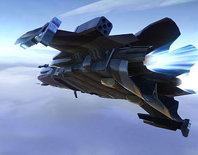Military Sci-Fi Ship with Crashed Version 3D model
