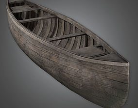 3D Old Dark Wood Canoe Antiques - PBR Game