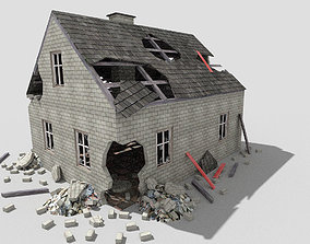 3D asset low poly destroyed house 3