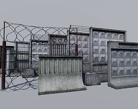 Modular concrete and metallic fences pack 3D asset