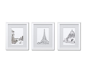 3D White Picture Frames - Set of 3