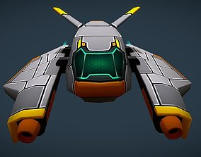 3D asset Sci-Fi Space Gun Fighter Ship - BASIC - for Mob 2