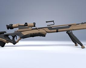 sci fi rifle 3D model rigged