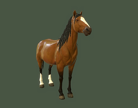 Low Poly Brown Horse 3D asset