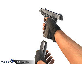 animated Animated Arm with M1911 Pistol Lowpoly 3D Model