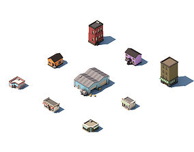 Low Poly Set of City Street Buildings 3D asset
