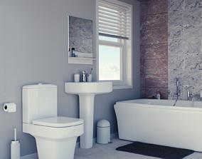 Clean Modern Bathroom 3D model