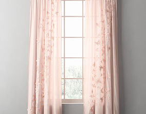 FLOATING BUTTERFLY VOILE DRAPERY PANEL 3D model