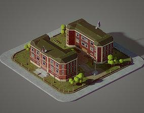 Lowpoly British School 3D model VR / AR ready
