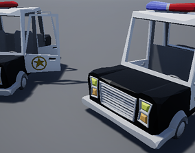 Cartoony Stylized Police Car Low Poly 3D asset