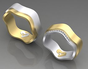 3D print model Couple wedding rings with diamonds and 1